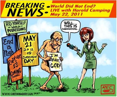Harold Camping cartoon Evolution Literacy