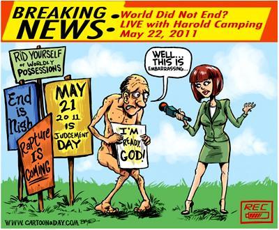 Harold Camping cartoon Evolution Literacy