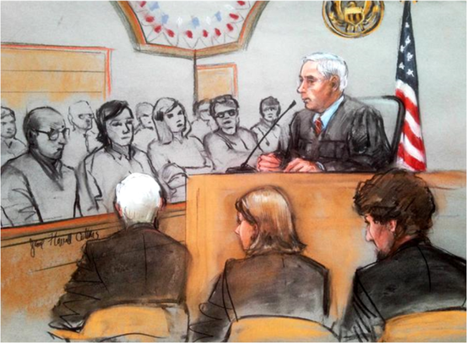Illustration of Boston Marathon Trial by Jane Collins