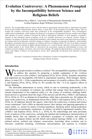 Evolution Controversy Int J Sci Soc May 14 2015 Paz-y-Mino-C Espinosa