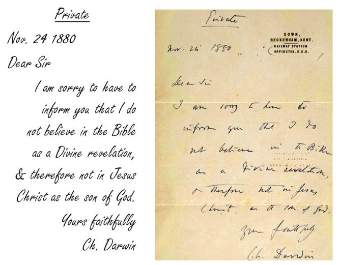 Darwin's Letter Nov 24 1880