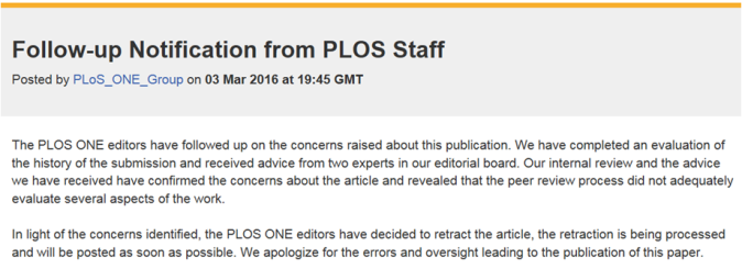 PLoS ONE retraction of paper