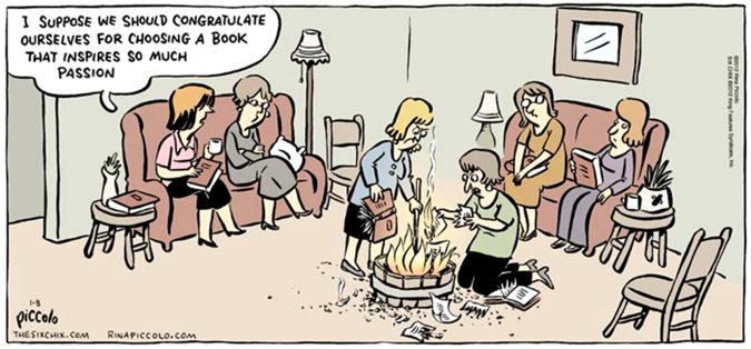 Cartoon by Rina Piccolo Book-burning Club