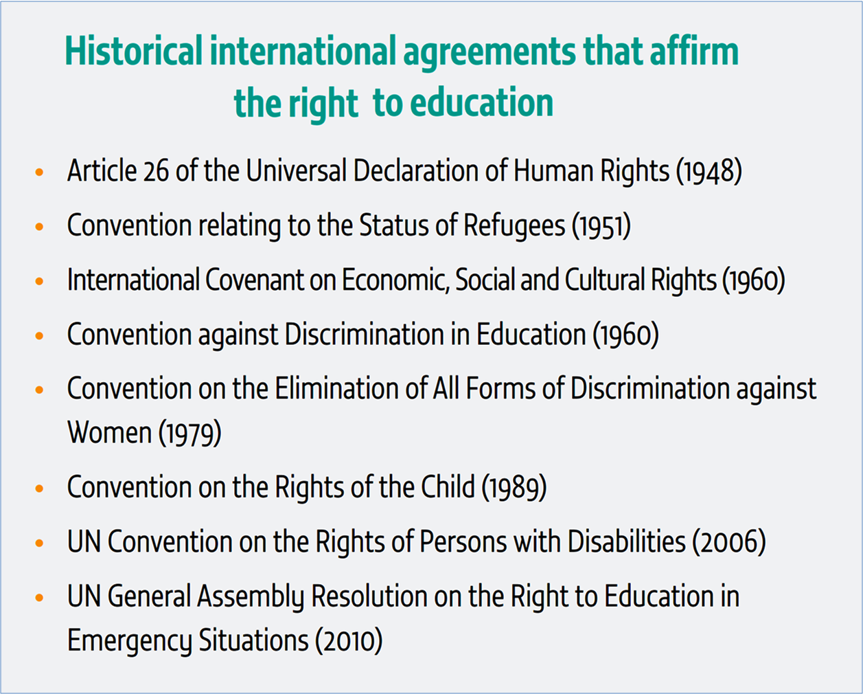 the history of right to education Overwhelming support for the right to education is reflected in  and function of  education, presents a brief history of educational inequity in the.